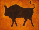 "acrylic on canvas 4""x3"" Bullish"