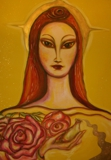 "oil & mixed media on canvas 3""x2""  Kwan Yin"