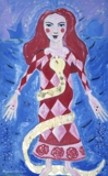 "oil & mixed media on canvas 4""x2"" Kundalini Girl II"