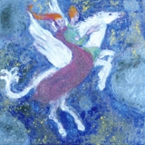 "raw pigment and oil on canvas 1.5""x1.5"" Pegasus"