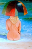 WOMAN AND UMBRELLA - original oils, 612x916 mm