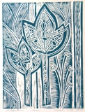 linocut in teal ink, limited edition, for sale